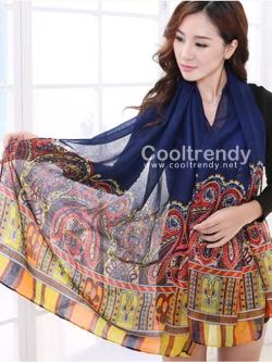 ผ้าพันคอลาย Morocco Style : สีน้ำเงิน - ผ้า viscose 180x90 cm