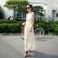 """""""พร้อมส่ง""""เสื้อผ้าแฟชั่นสไตล์เกาหลีราคาถูก Brand God is girl เดรสตัวยาว แขนกุด ผ้าลูกไม้สีขาว มีซับใน เอวจั๊ม thumbnail 1"""