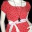 #น่ารักสุดๆ# <แบบพลอยชิดจันทร์ น่ารัก เชียร์ค่ะ> DB371 Sweet Lady ใหม่! แซคคอปาด ต่ออก แขนตุ๊กตา ลายจุดหวาน ผูกโบ น่ารักมาก สีแดงเก๋มาก thumbnail 2