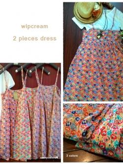 wipcream เดรส 2 ชิ้น สไตล์ญี่ปุ่น ผ้าคอตตอนนิ่มพริ้ว ลายดอกไม้สีสดใส