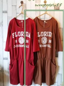 เดรสผ้ายืดเนื้อนิ่ม สกรีนลาย Florida สีน้ำตาล