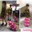 กระเป๋าเดินทางวินเทจ รุ่น spring colorful ชมพูเข้มคาดขาว ขนาด 20 นิ้ว thumbnail 3