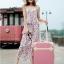 กระเป๋าเดินทางวินเทจ รุ่น colorful ชมพูกระปิคาดชมพูอ่อน ขนาด 24 นิ้ว thumbnail 4