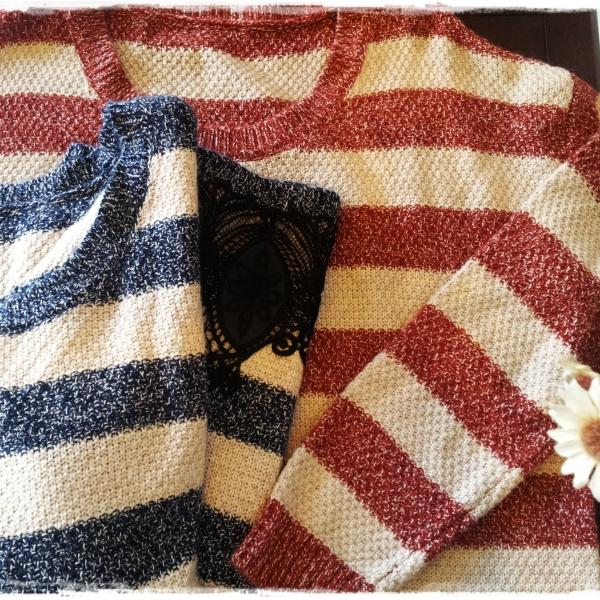 รูปภาพสินค้า สีแดง เสื้อไหมพรมกันหนาวสไตล์ญี่ปุ่นลายริ้ว