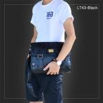 LT43-Black กระเป๋าสะพายข้าง หนัง PU สีดำ Three box