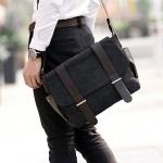 CV13-Black กระเป๋าสะพายข้าง ผ้าแคนวาส สีดำ