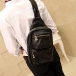 LT37-Black กระเป๋าสะพายไหล่ กระเป๋าคาดอก หนัง Black PU สีดำ
