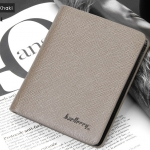WS05-Khaki กระเป๋าสตางค์ใบสั้น แนวตั้ง กระเป๋าสตางค์ผู้ชาย หนัง PU เกรดเอ สีกากี