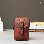 LT36-Brown กระเป๋าร้อยเข็มขัด กระเป๋าคาดเข็มขัด หนัง PU สีน้ำตาล (มีสายสะพาย)