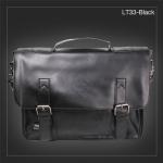 LT33-Black กระเป๋าสะพายข้าง หนัง PU สีดำ Three box
