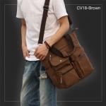 CV18-Brown กระเป๋าถือผู้ชาย + สะพายข้าง ผ้าแคนวาส สีน้ำตาล