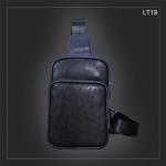 LT19 กระเป๋าสะพายไหล่ กระเป๋าคาดอก หนัง PU สีดำ