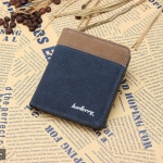 WS02-Blue แนวตั้ง กระเป๋าสตางค์ใบสั้น กระเป๋าสตางค์ผู้ชาย ผ้าแคนวาส สีน้ำเงิน