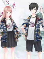 ชุดคู่รักคอสเพลย์แฟชั่น แนวชุดคลุมกิโมโนญี่ปุ่น Hyakki