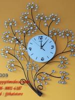 นาฬิกาติดผนังสไตล์โมเดิร์น Modern รูปช่อดอกไม้ประดับคริสตัล รหัส HT0009