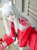 ชุดคอสเพลย์หญิงแฟชั่น Inuyasha เทพอสูรจิ้งจอกเงิน สีแดง ดีไซส์กิโมโน