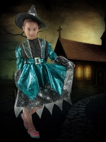 ชุดคอสเพลย์เด็กแฟชั่น ปาร์ตี้แฟนซีฮาโลวีน ชุดแม่มดเวทมนตร์เจ้าหญิง