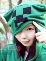 ชุดคอสเพลย์หญิงแฟชั่น minecraft JJ เสื้อแจ็กเก็ตแขนยาวกำมะหยี่หนา สีเขียว ดีไซส์ฮู้ด