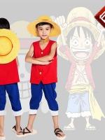ชุดคอสเพลย์เด็กแฟชั่น OnePiece Monkey D. Luffy แนวกัปตันกลุ่มโจรสลัดหมวกฟาง