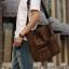 CV18-Brown กระเป๋าถือผู้ชาย + สะพายข้าง ผ้าแคนวาส สีน้ำตาล thumbnail 9