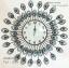 นาฬิกาแขวนติดผนังขนาดใหญ่ สไตล์โมเดิร์น รูปหางนกยูงประดับพลอยสีฟ้า สวยๆอลังการ HT6051 thumbnail 1