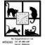 นาฬิกาติดผนังทรงสี่เหลี่ยม รูปแมวดำ 4 ตัว 4 ท่าทาง - HT0005 thumbnail 1