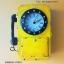 นาฬิกาติดผนังวินเทจตกแต่งบ้าน รูปตู้โทรศัพท์เหลืองโบราณ thumbnail 1