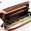 WL01-Dark กระเป๋าสตางค์ใบยาว กระเป๋าสตางค์ผู้ชาย หนัง PU สีน้ำตาลเข้ม thumbnail 5