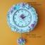 นาฬิกาติดผนัง ทรงจานเซรามิคประดับด้วยดอกกุหลาบ thumbnail 1