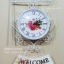 นาฬิกาแขวนสองหน้าตกแต่งร้าน สไตล์วินเทจสีขาว แขวนป้าย Welcome - HT0134 thumbnail 1