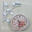 นาฬิกาแขวนวินเทจ สองหน้า นกเกาะกิ่งไม้สีขาว หน้าปัดลายดอกไม้ - HT0133 thumbnail 1