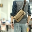CV02-Khaki กระเป๋าสะพายไหล่ กระเป๋าคาดอก ผ้าแคนวาส สีกากี thumbnail 1