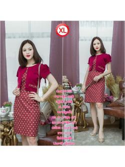 Code:XL737ชุดเดรสเสื้อกั๊กเย็บติดกับชุด ผ้า Hanako สีแดงเลือดนก ชุดผ้า Canvan พื้นแดงจุดขาว