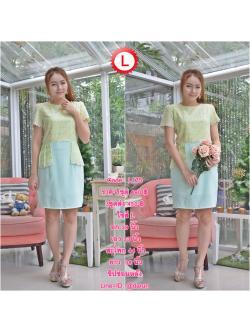 Code : L175 ชุดเดรสเสื้อผ้าคอตตอลปักไหมญี่ปุ่นผ้านำเข้า สีเขียวปักฉลุสวยมาก แต่งระบายด้านข้างรอบสะโพก