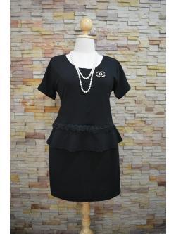 พร้อมส่งชุดดำ สำหรับสาวอวบ++ F 40-46นิ้ว T-595