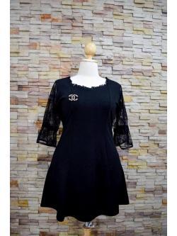 พร้อมส่งชุดดำ สำหรับสาวอวบ++ F 38-44นิ้ว T-583