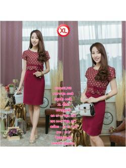 Code:XL748 ชุดเดรสเสื้อผ้า Canvan พื้นแดงลายจุด แต่งขอบเอว ติดโบว์เล็กเพิ่มความน่ารักและสุดเก๋