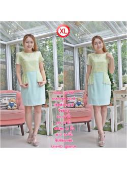 Code : XL180 ชุดเดรสเสื้อผ้าคอตตอลปักไหมญี่ปุ่นผ้านำเข้า สีเขียวปักฉลุสวยมาก แต่งระบายด้านข้างรอบสะโพก
