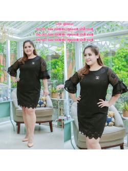 Size= XL,3XL,5XL ชุดเดรสสาวอวบ++ผ้า ลูกไม้ สีดำ ทอลายสวยงาม จุดเด่นของชุดนี้อยู่ที่แขนระบาย