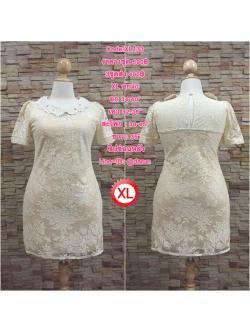 XL133 ชุดเดรสผ้าลูกไม้ สีนู๊ด แต่งปกโครเชต์ ติดเพชร ช่วยให้ชุดดูสวยหรู ใส่เข้ารูปทรงสวยงามดค่ะ