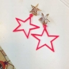 ต่างหูดาวสีชมพูนีออนสวย ขนาด 4x6.5 ซม