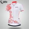 **พรีออเดอร์** เสื้อปั่นจักรยานผู้หญิงแขนสั้น สีขาว ลายดอกไม้