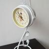 นาฬิกาตั้งโต๊ะวินเทจ สีขาว มีสองหน้าปัด (T081056)