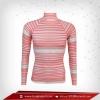 เสื้อรัดรูป Body Fit แขนยาวคอตั้ง สีชมพู - ลายเทา