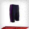 กางเกงรัดกล้ามเนื้อ ผ้าspandex ขาสั้น สีเทาดำ-แถบม่วง