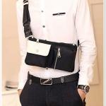 NY03-Black กระเป๋าคาดอก กระเป๋าคาดเอว ผ้าไนลอน สีดำ