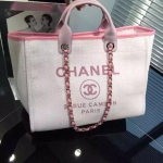 Chanel Jeans Shopping bag สีชมพูอ่อน งานHiend1:1