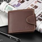 ( ลดล้างสต๊อค ) WS06-Brown กระเป๋าสตางค์ใบสั้น แนวนอน กระเป๋าสตางค์ผู้ชาย หนัง PU เกรดเอ สีน้ำตาล