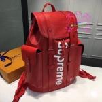 Louis vuitton Supreme Christopher Backpack สีแดง งานHiend Original