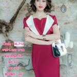 XL712 ชุดเดรสผ้า Hanako สีแดงเลือดนก ทั้งชุด ดีไซส์ปกสีขาว เก๋มากค่ะ มีซับใน